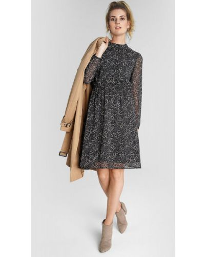 Шифоновое серое с рукавами платье макси Ostin