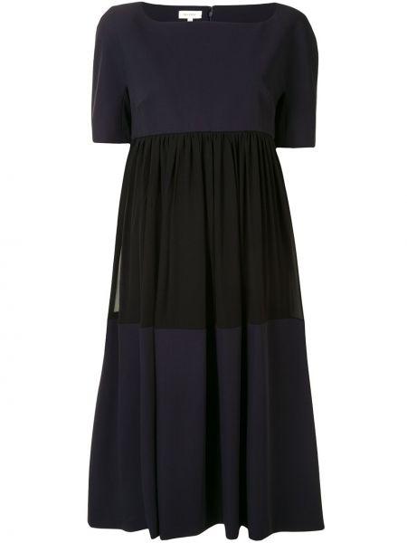 Шелковое с рукавами черное платье миди Delpozo