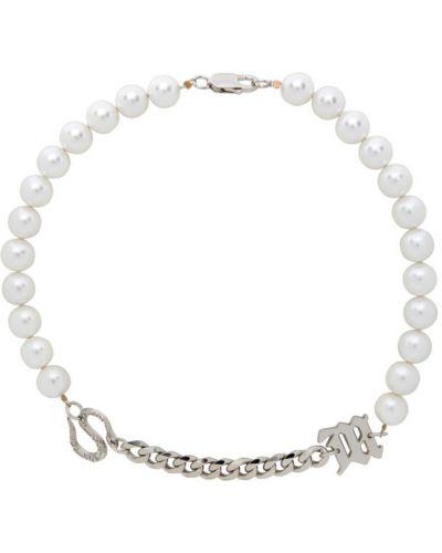 Biały naszyjnik perły srebrny Misbhv