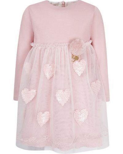 Нарядное розовое платье из вискозы Miss Blumarine