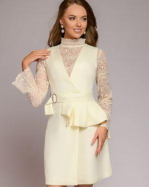 Повседневное платье с баской с декольте 1001 Dress
