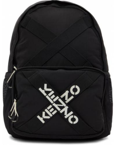 Czarny sport plecak skórzany z siateczką Kenzo