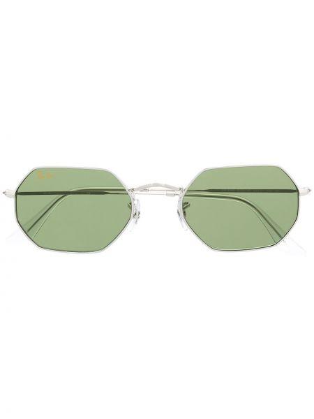 Серебряные солнцезащитные очки металлические Ray-ban