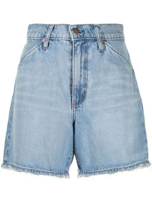 С завышенной талией хлопковые синие джинсовые шорты Nobody Denim