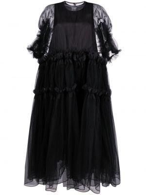 Черное платье мини с короткими рукавами из фатина Comme Des Garçons Noir Kei Ninomiya
