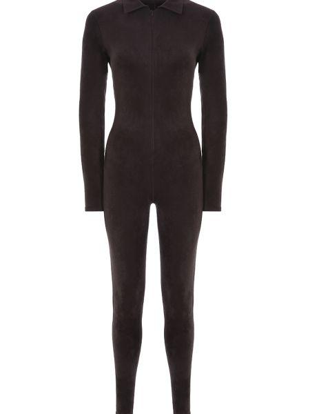 Облегающий коричневый шерстяной длинный комбинезон Alaïa