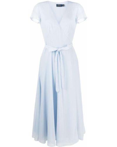 Niebieska sukienka midi krótki rękaw z dekoltem w serek Polo Ralph Lauren