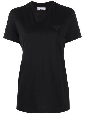 Хлопковая с рукавами черная футболка Y-3