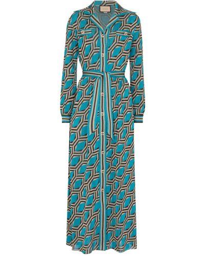 Синее платье макси из вискозы Gucci