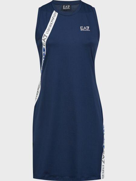 Хлопковое платье - синее Ea7 Emporio Armani