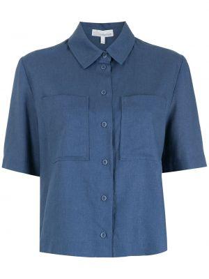 Синяя классическая рубашка с короткими рукавами с воротником НК