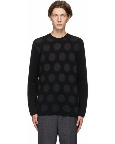 Czarny długi sweter wełniany w grochy Comme Des Garcons Homme Deux
