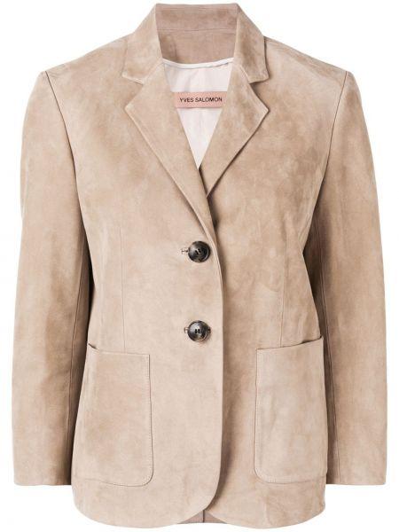 Кожаный удлиненный пиджак с накладными карманами на пуговицах Yves Salomon