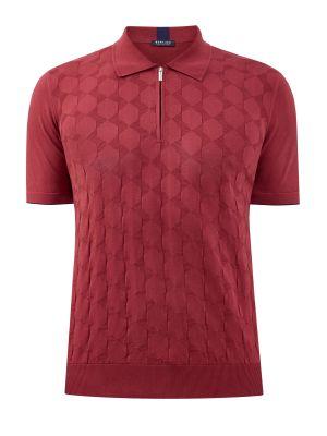 Облегающий красный хлопковый поло Bertolo Cashmere