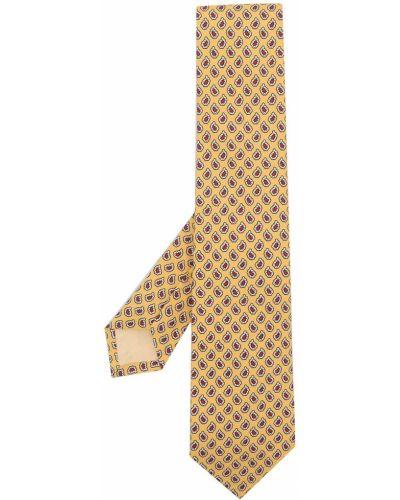 Żółty krawat z jedwabiu z printem Polo Ralph Lauren