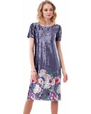 Вечернее платье серое с цветочным принтом Wisell