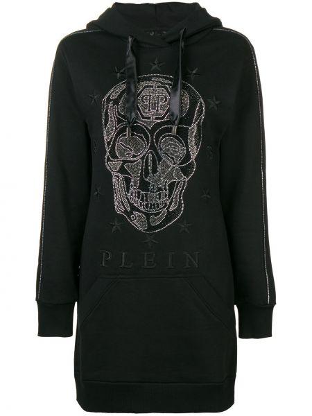 Bawełna czarny tunika z długimi rękawami z kapturem z długimi rękawami Philipp Plein