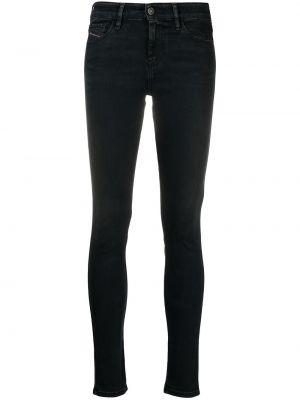 Кожаные черные джинсы-скинни с высокой посадкой Diesel
