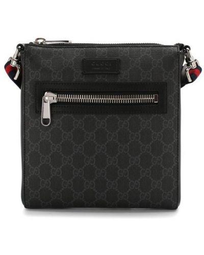 Кожаная сумка с принтом Gucci