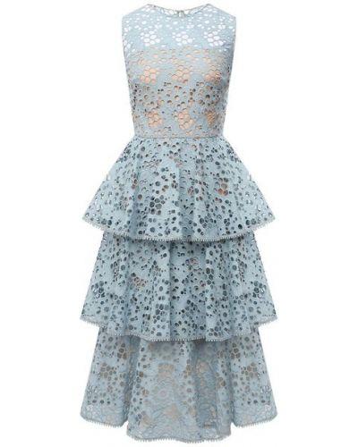 Синее шелковое платье с подкладкой Oscar De La Renta