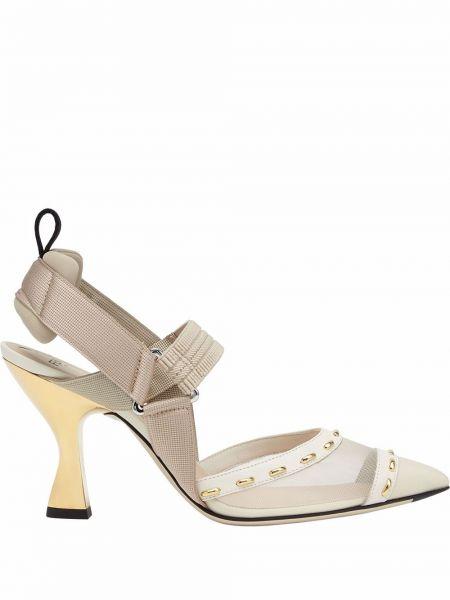 Белые кожаные туфли Fendi