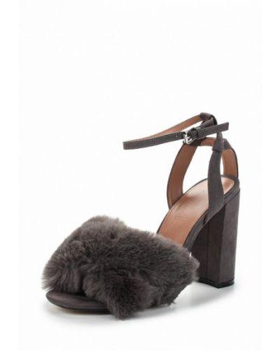 Босоножки на каблуке с мехом кожаные Topshop