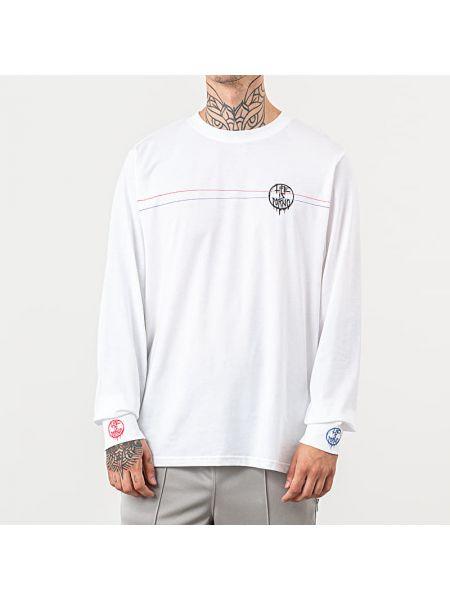 Biały t-shirt z długimi rękawami Life Is Porno