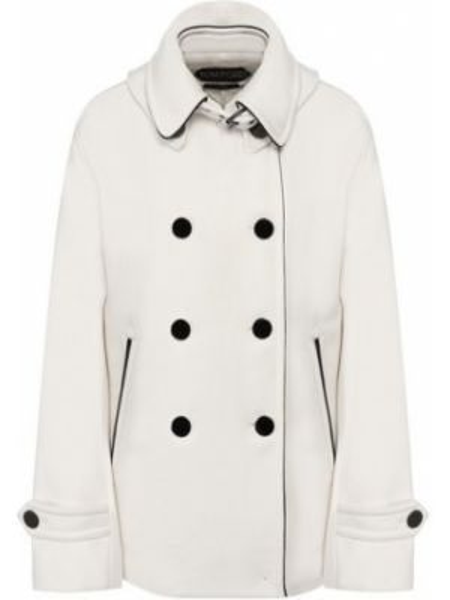 Терракотовое шерстяное укороченное пальто с воротником узкого кроя Tom Ford