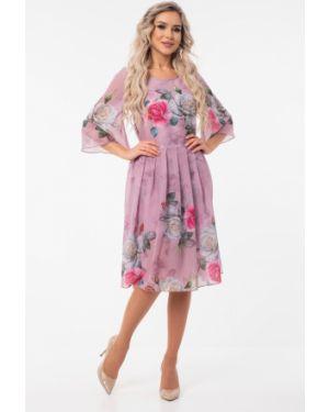 Платье розовое с цветочным принтом Wisell