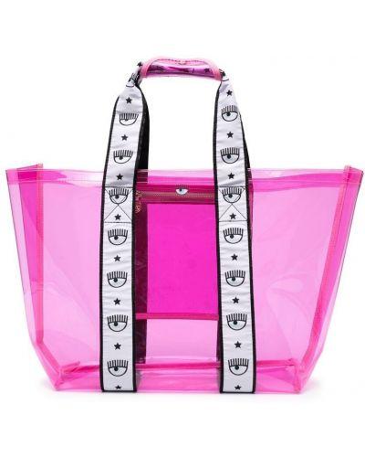 Różowa torebka z printem Chiara Ferragni