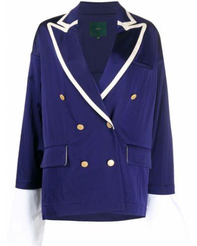 Хлопковый синий удлиненный пиджак двубортный Jejia