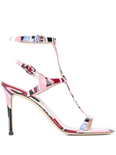 Różowy sandały z klamrą nowoczesny z prawdziwej skóry Emilio Pucci