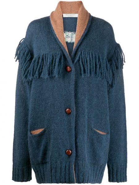 Синее длинное пальто оверсайз из альпаки Philosophy Di Lorenzo Serafini