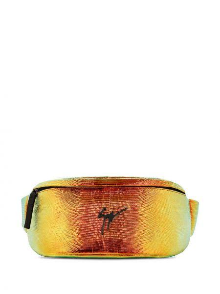 Оранжевая кожаная поясная сумка на молнии Giuseppe Zanotti