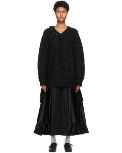 Черный длинный свитер с аппликациями из альпаки с V-образным вырезом Simone Rocha