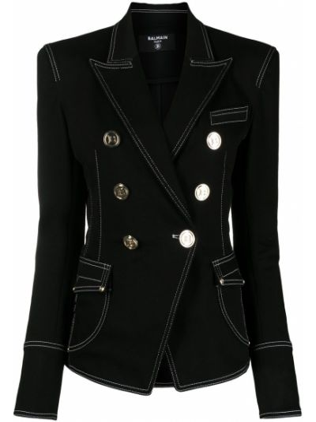 Черный удлиненный пиджак двубортный с карманами Balmain