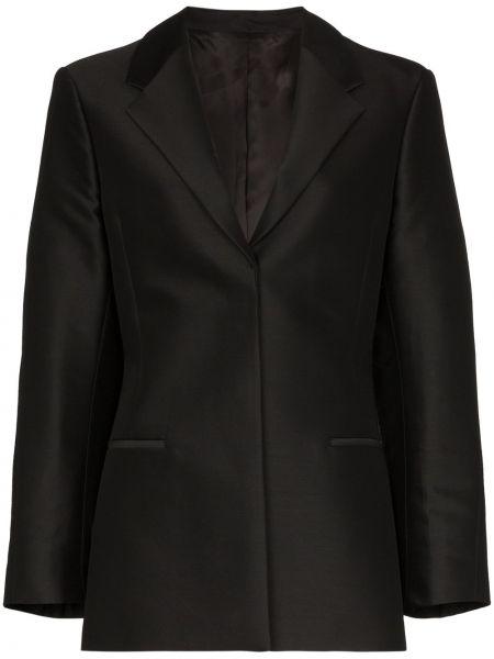 Прямой черный классический пиджак с карманами Toteme