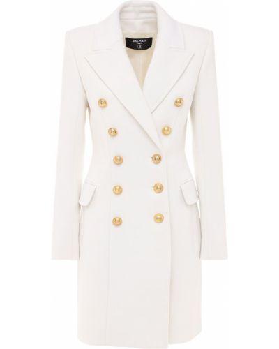 Бежевое кашемировое пальто двубортное Balmain