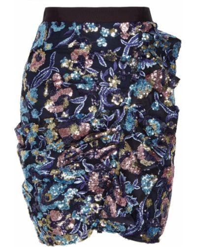Юбка мини с пайетками с вышивкой Self-portrait