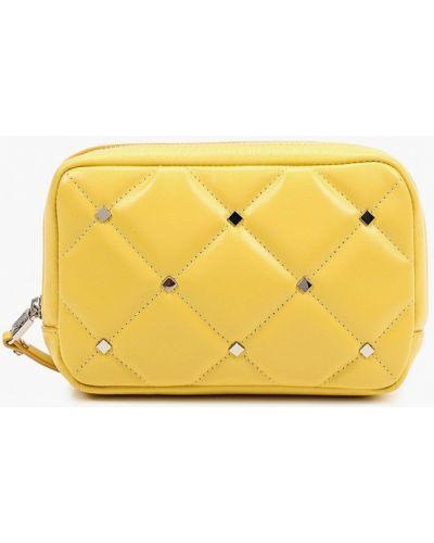 Желтая поясная сумка из натуральной кожи Eleganzza