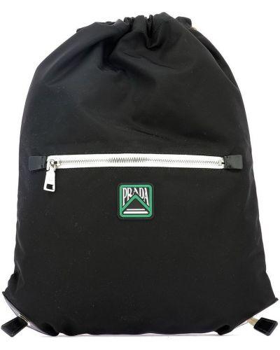 Czarny plecak sportowy z printem Prada