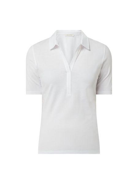 Biały t-shirt bawełniany z dekoltem w serek Marc O'polo