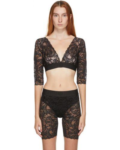 Czarny biustonosz koronkowy z długimi rękawami Versace Underwear