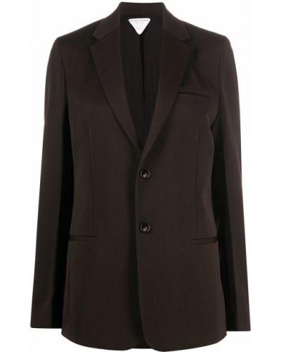 Однобортный коричневый удлиненный пиджак с карманами Bottega Veneta