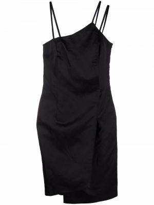 Асимметричное хлопковое черное платье миди Opening Ceremony