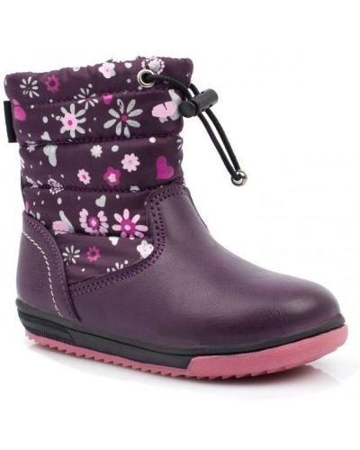 Повседневные фиолетовые кожаные сапоги -