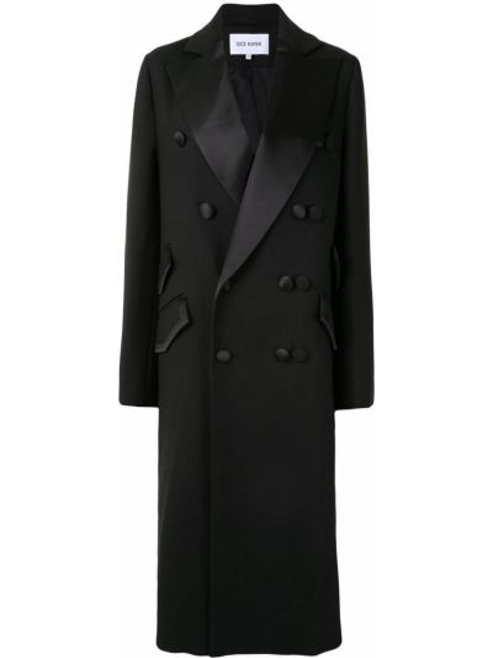 Шерстяное черное пальто двубортное Dice Kayek