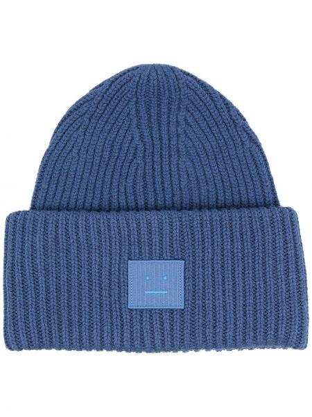 Niebieska czapka prążkowana Acne Studios