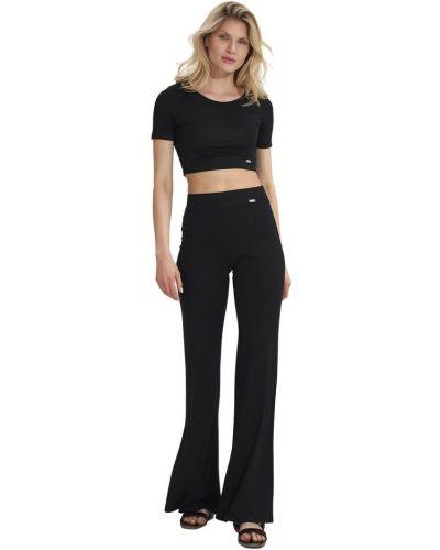 Czarne spodnie dzwony Figl