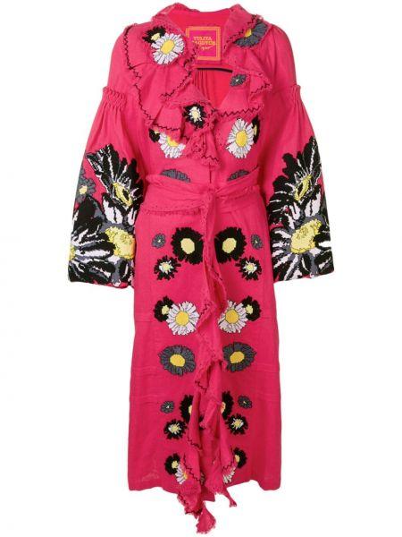 Розовое расклешенное платье с вышивкой на молнии Yuliya Magdych